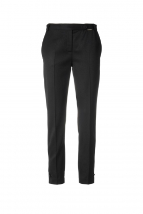 BLACK TAILORED WOOL CIGARETTE PANTS WITH BUTTON CUFF
