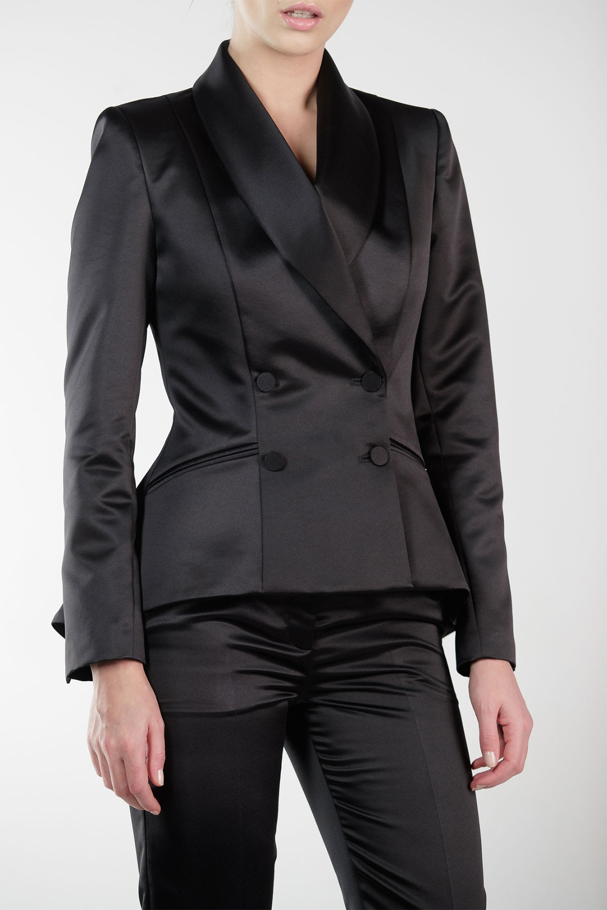 BLACK SATIN DOUBLE BREASTED JACKET