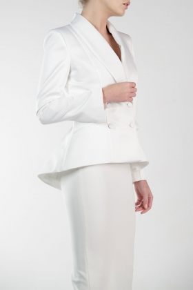 WHITE SATIN DOUBLE BREASTED JACKET