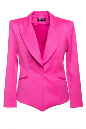 HOT PINK BLAZER WITH OVER-SIZED SHOULDERS