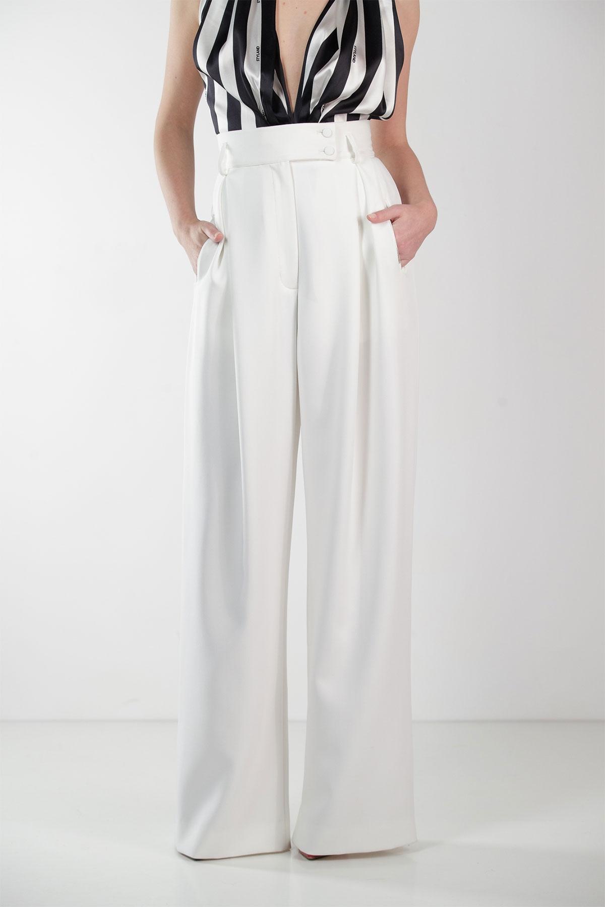 WHITE SUPER WIDE-LEG PANTS