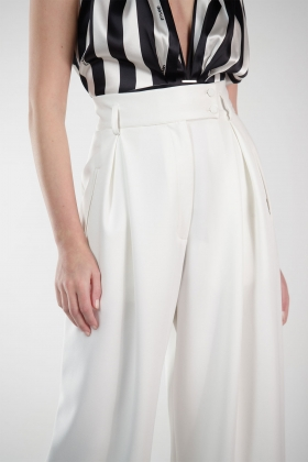 WHITE SUPER WIDE-LEG PANTS