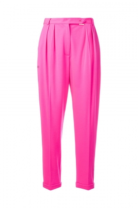 HOT PINK WOOL JERSEY TAPERED TROUSERS