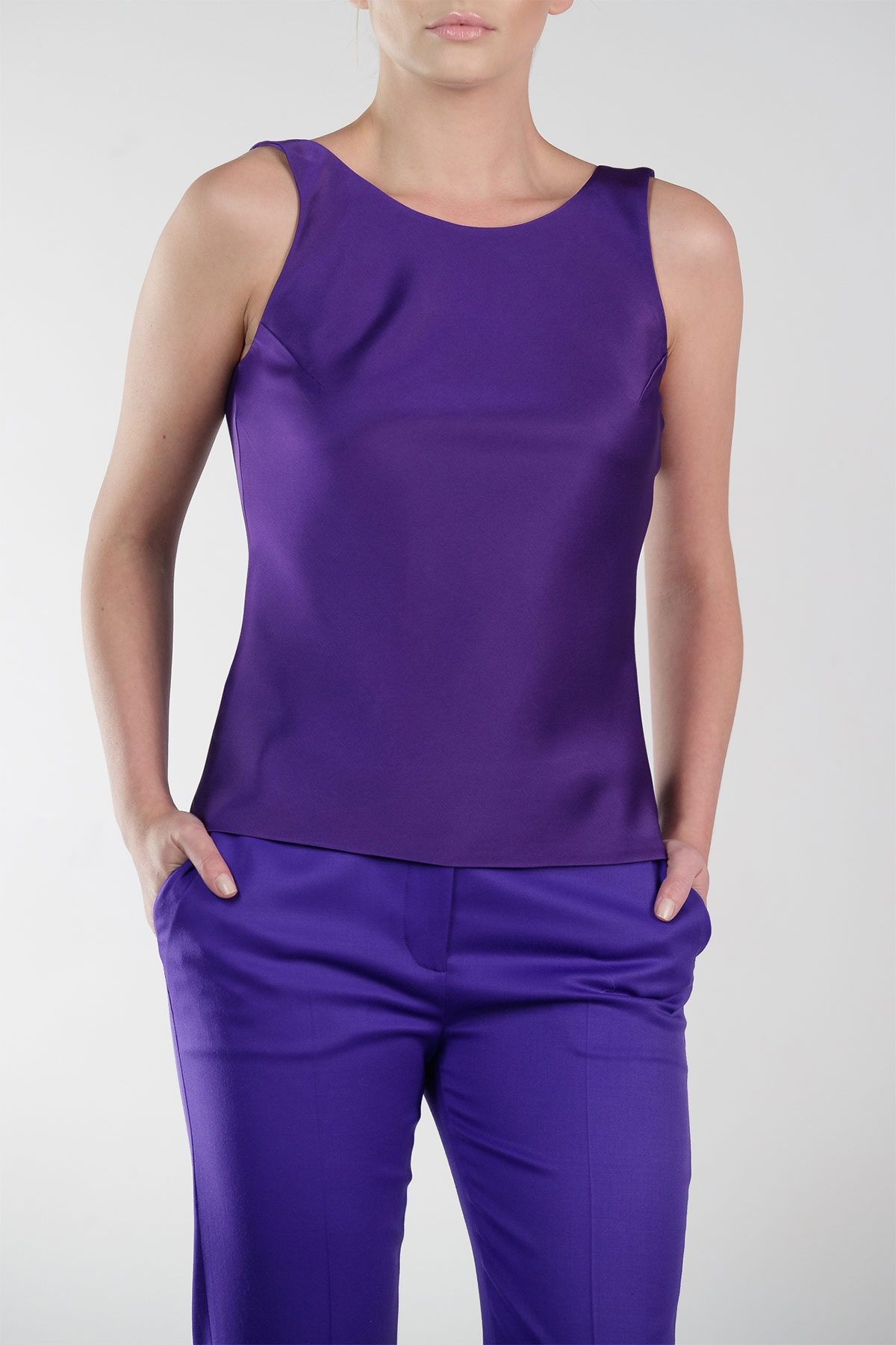 PURPLE SILK TOP WITH OPEN BACK