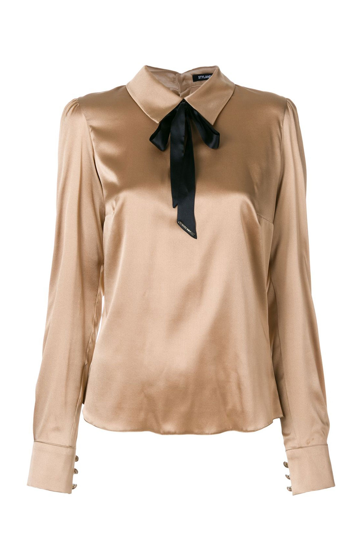 TABACCO PUSSY-BOW SILK SHIRT WITH BACK BUTTONS