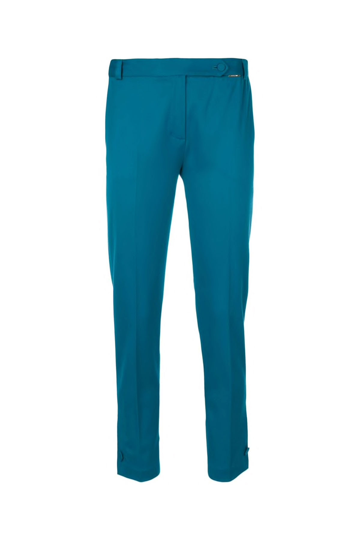 MOROCCAN BLUE TAILORED WOOL CIGARETTE PANTS WITH BUTTON CUFF