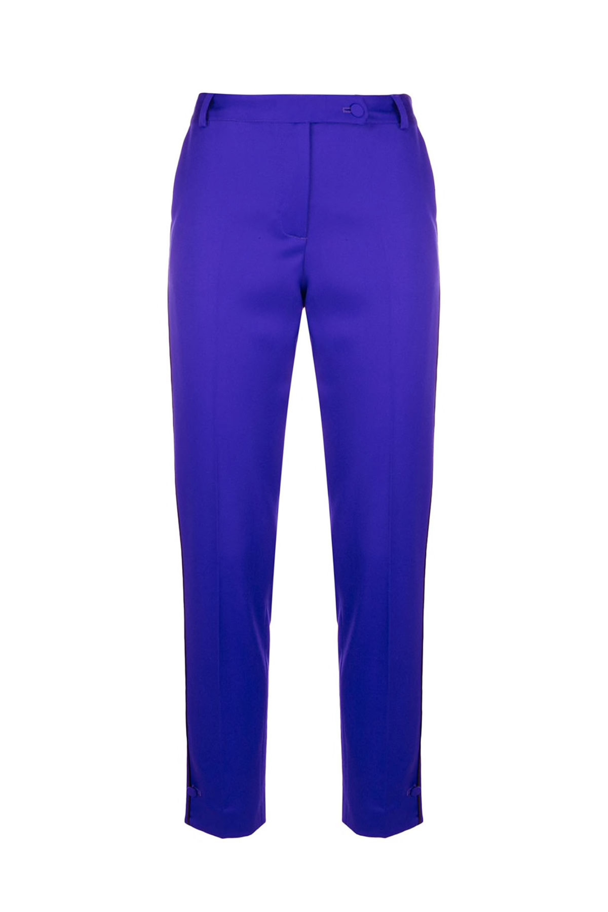 PURPLE TAILORED WOOL CIGARETTE PANTS WITH BUTTON CUFF