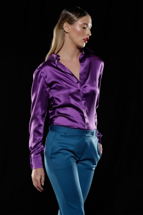 PURPLE PUSSY-BOW SILK SHIRT WITH BACK BUTTONS