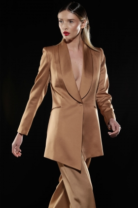 GOLDEN SATIN LONG BLAZER