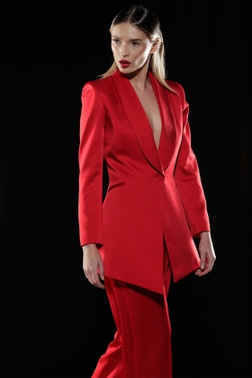 RED SATIN LONG BLAZER