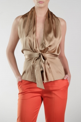 TOBACCO SILK BLOUSE