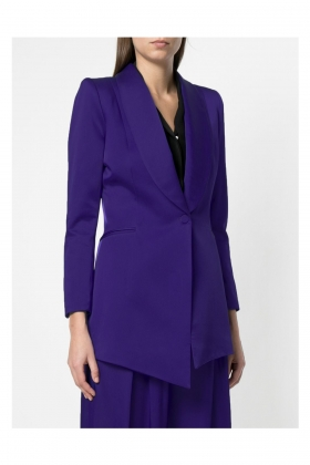 PURPLE SATIN LONG BLAZER