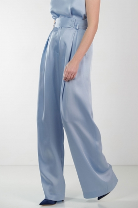 BLUE SUPER WIDE-LET PANTS WITH HIGH WAIST
