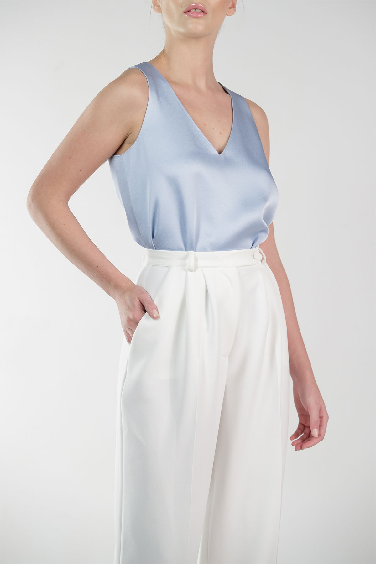 BLUE SATIN V-NECK TANK