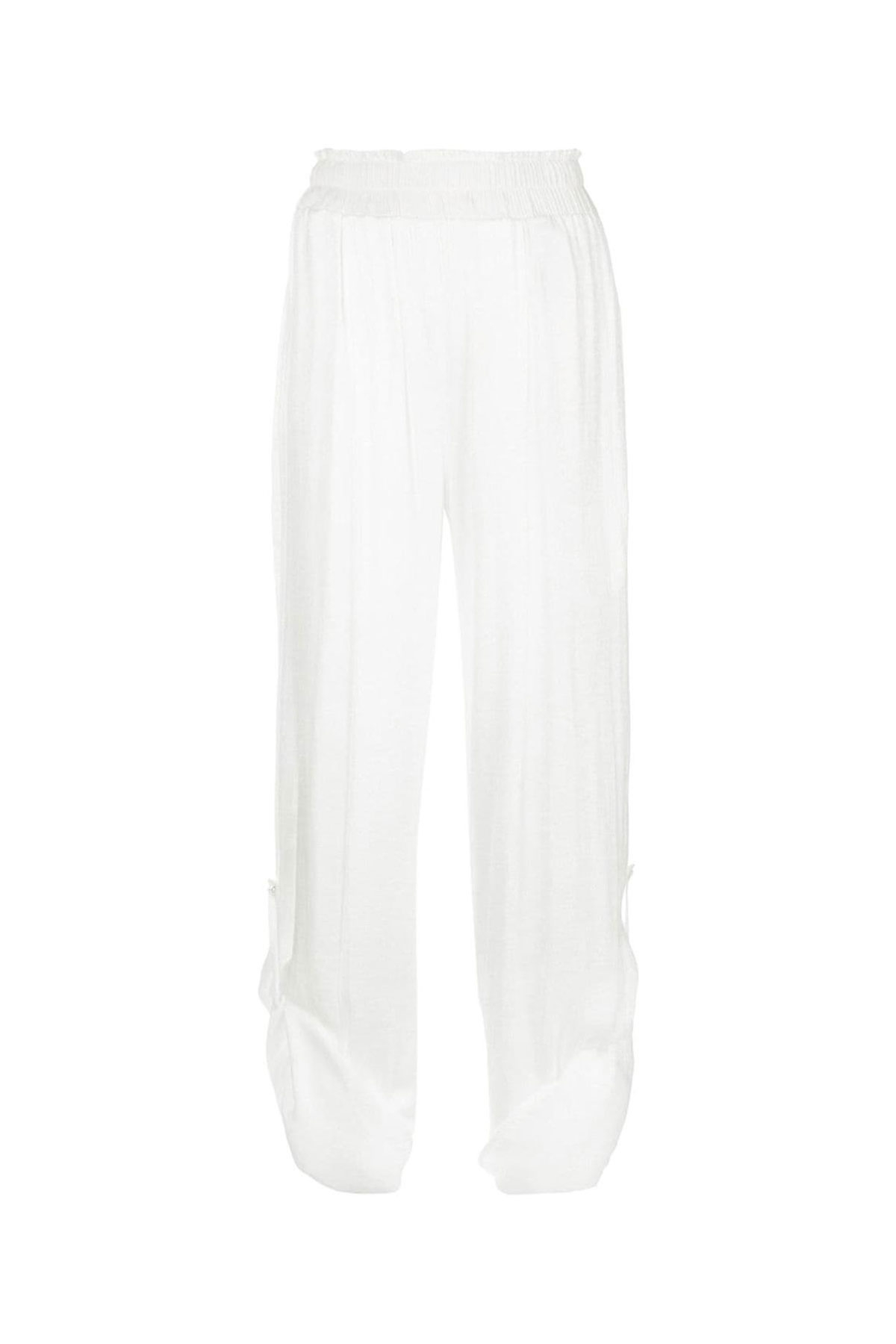 WHITE HIGH WAISTED PAPER BAG PALAZZO