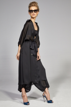 BLACK SEE THROUGH LONG SHIRT DRESS