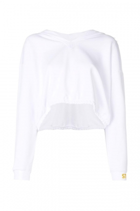 WHITE OVERSIZED HOODED SWEATSHIRT WITH LOGO