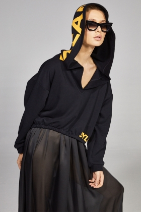 BLACK OVERSIZED HOODED SWEATSHIRT WITH LOGO