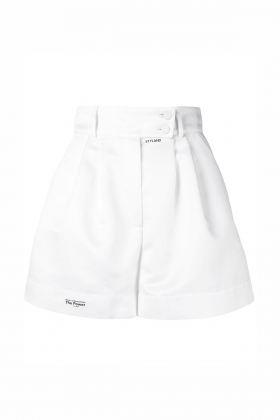 WHITE SATIN SHORTS