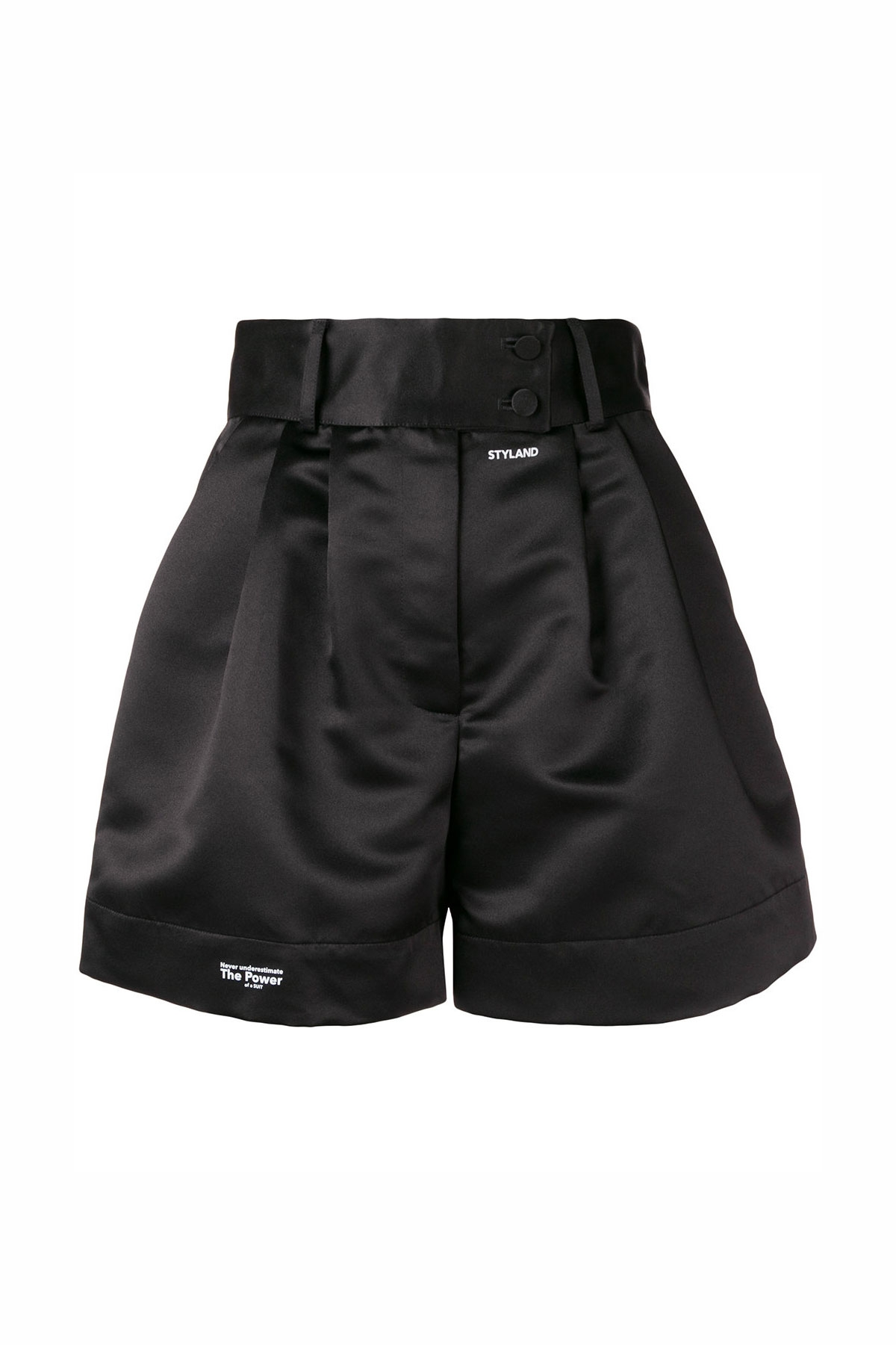 BLACK SATIN SHORTS