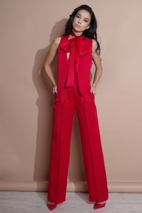 RED VEST WITH SILK BACK AND LINING