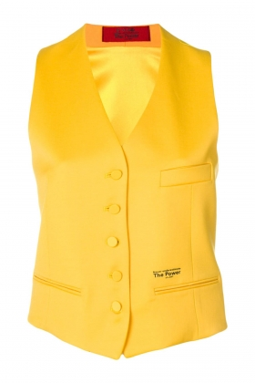 YELLOW VEST WITH SILK BACK AND LINING