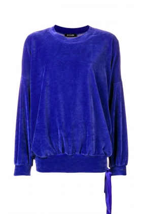 BLUE VELVET SWEATSHIRT WITH DETACHABLE SILK SCARF