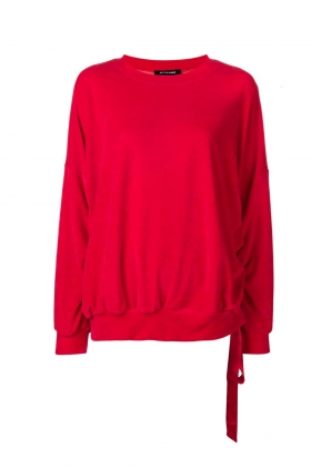 RED VELVET SWEATSHIRT WITH DETACHABLE SILK SCARF