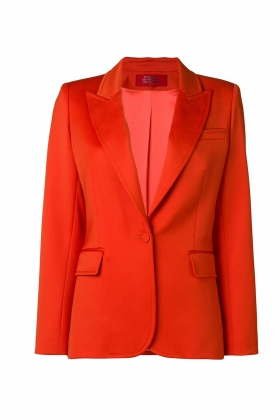 ORANGE WOOL BLAZER WITH PEAK LAPELS