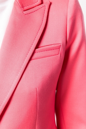 CORAL WOOL BLAZER WITH PEAK LAPELS