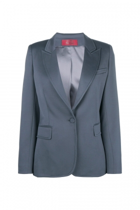 GREY WOOL BLAZER WITH PEAK LAPELS