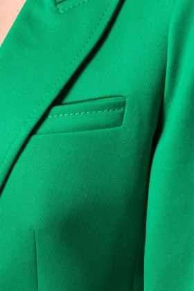 GREEN WOOL BLAZER WITH PEAK LAPELS