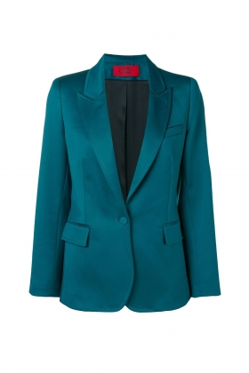DARK GREEN WOOL BLAZER WITH PEAK LAPELS