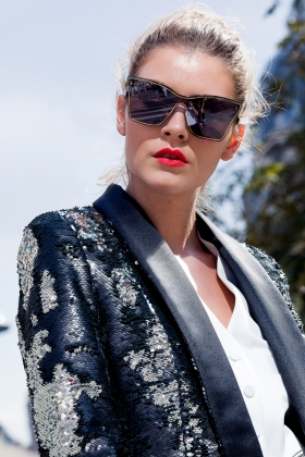 SEQUINED TUXEDO WITH BLACK SHAWL LAPEL