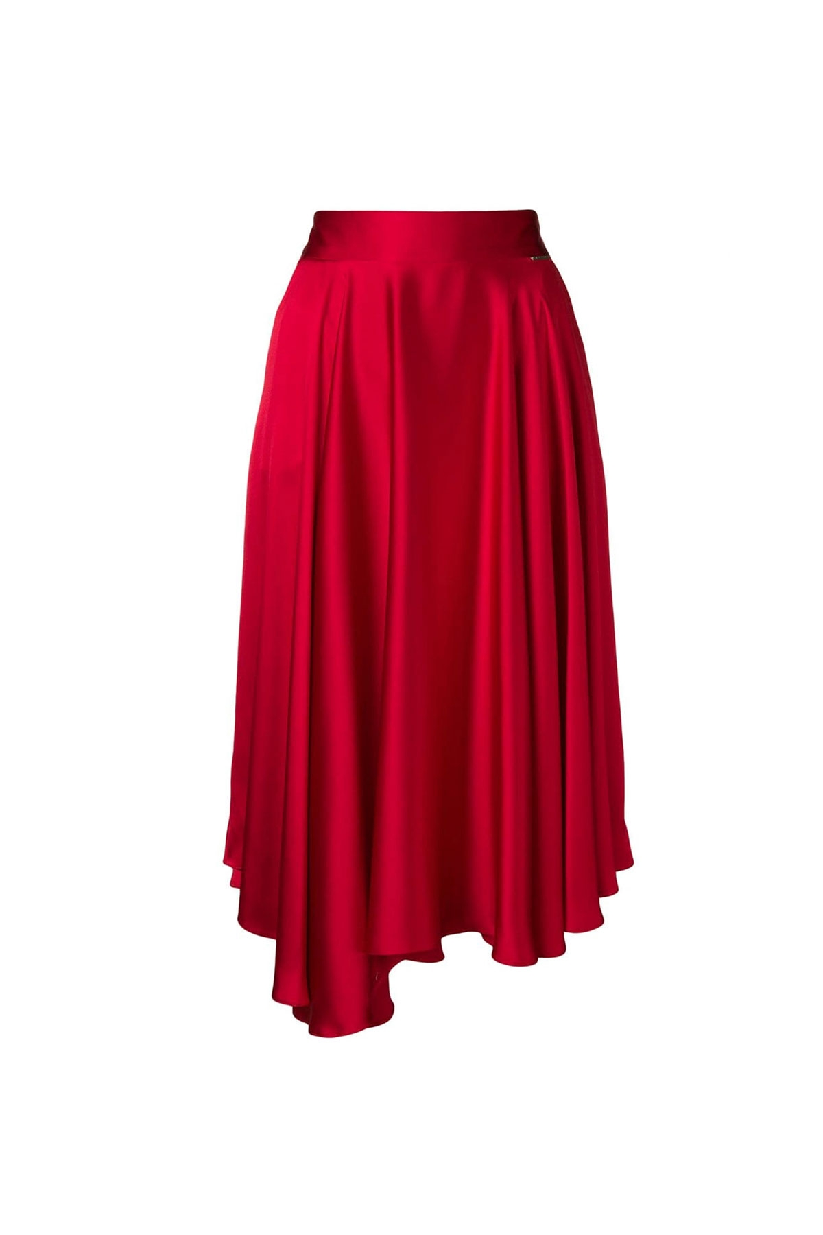 RED MIDI SKIRT WITH POCKETS