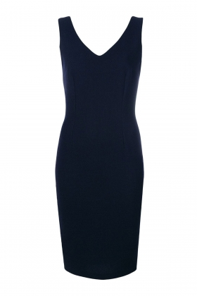 NAVY CREPE WOOL DRESS WITH SILK LINING