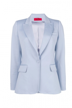 BLUE WOOL BLAZER WITH PEAK LAPELS