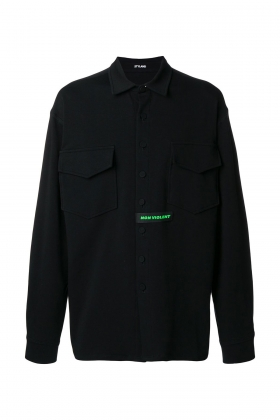 CHEST POCKET BLACK JERSEY SHIRT WITH LOGO PRINT