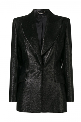 BLACK METALLIC WIDE LAPEL BLAZER