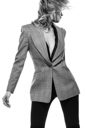 HERRINGBONE WIDE LAPEL BLAZER