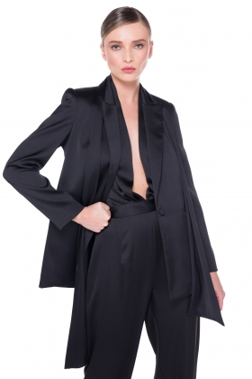 BLACK SATIN JACKET WITH DETACHABLE SCARF