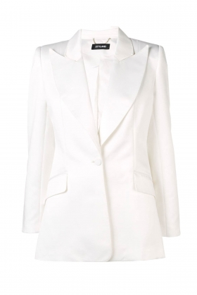 WHITE WIDE PEAK LAPEL BLAZER