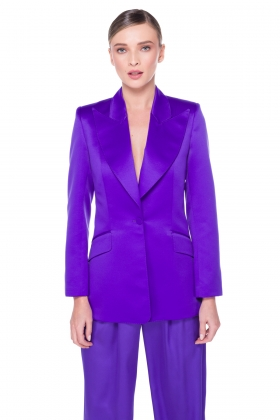 PURPLE WIDE PEAK LAPEL BLAZER