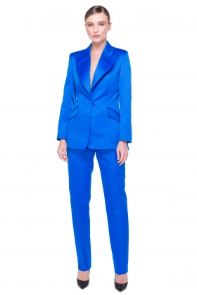 BLUE WIDE PEAK LAPEL BLAZER