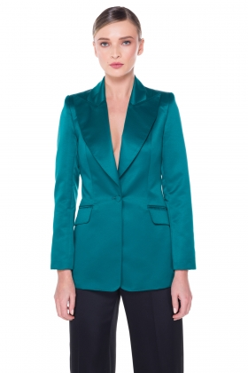 GREEN WIDE PEAK LAPEL BLAZER