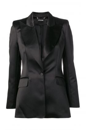 BLACK WIDE PEAK LAPEL BLAZER