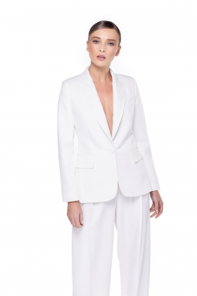 WHITE BLAZER WITH PEAK LAPELS