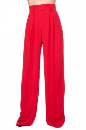 RED SUPER WIDE-LET PANTS WITH HIGH WAIST