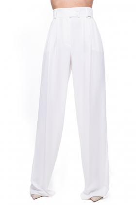 WHITE SUPER WIDE-LET PANTS WITH HIGH WAIST