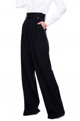 STRIPE SUPER WIDE-LEG PANTS WITH HIGH WAIST